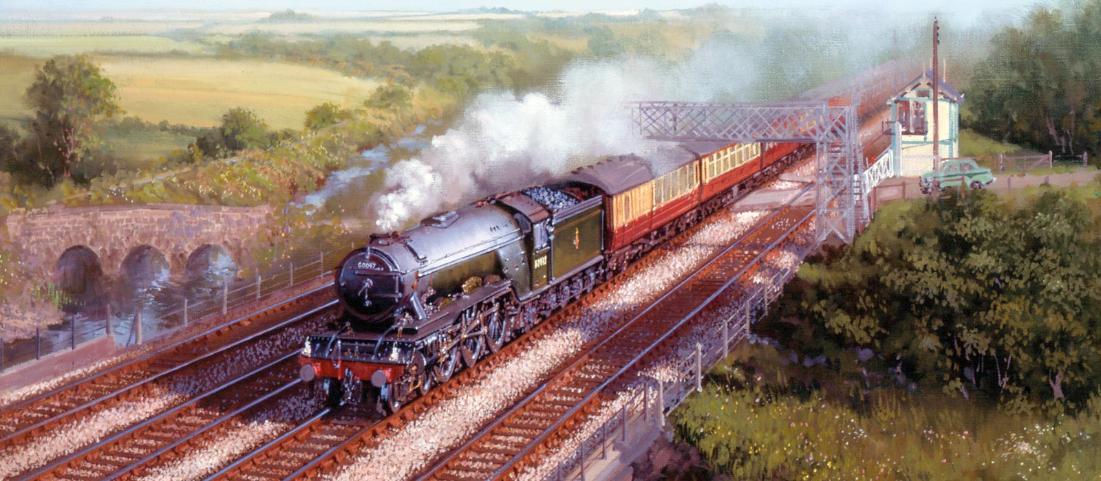 Painting of a steam train